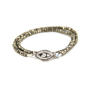 Evil Eye Diamond Wrap Bracelet and Choker