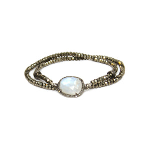 Pyrite Moonstone Diamond Choker and Wrap Bracelet
