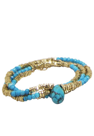 Dripping in Turquoise Necklace / Wrap-Bracelet