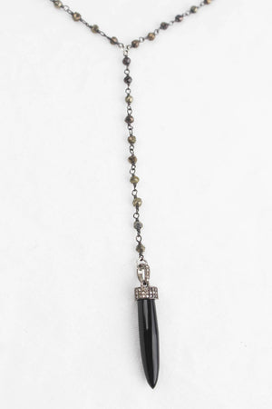 Pyrite Wire Wrap Black Onyx Diamond Bullet Necklace