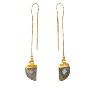 Gold Labradorite Arrowhead Drop Earrings