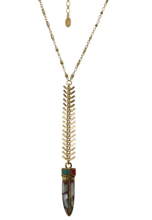 Cleopatra Drop Necklace with Tibetan Horn