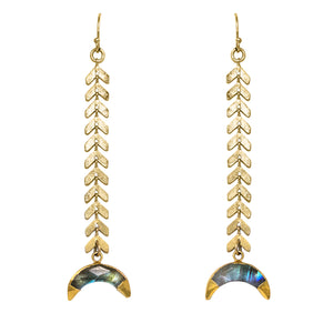 Gold Arrow Mother of Pearl  Moon Earrings