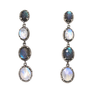 Moonstone Labradorite Diamond Earrings