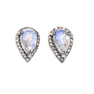 Diamond Teardrop Moonstone Studs