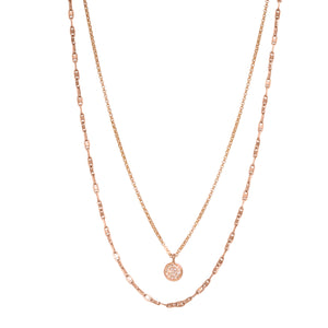 Double Strand Rose Gold Diamond Disc Necklace