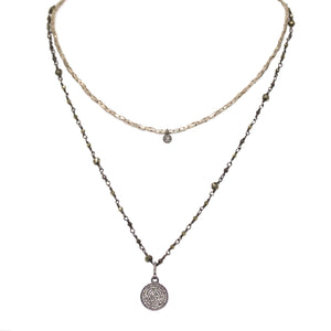 Double Stranded Pave Diamond Disc Necklace