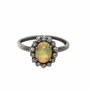 Pave Diamond Opal Ring