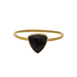 Black Onyx Gold Triangle Ring
