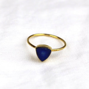 Blue Sapphire Gold Triangle Ring