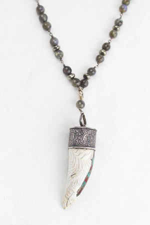 Tulum Shell Horn Wire Wrapped Necklace