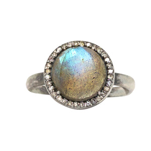 Labradorite and Pave Diamond Ring