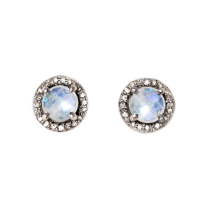Round Moonstone Diamond Studs