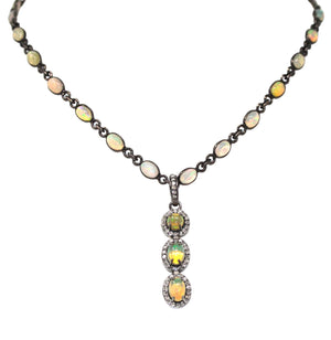 Diamond Ethiopian Opal Necklace