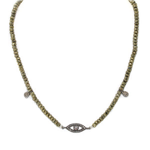 Evil Eye Diamond Choker in Pyrite