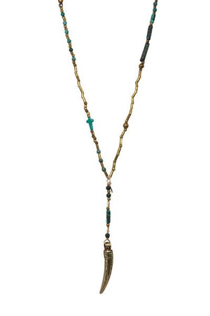 Tulum Gold Horn and Turquoise Lariat