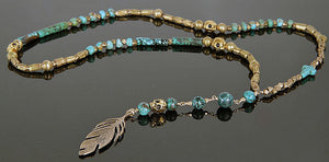 One of a kind, handmade, boho chic, celebrity-worn jewelry by J Grace Designs and Jami Miller / Turquoise, Ethiopian beads, Skulls, & Feather Rosary