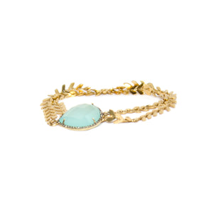 Gold Chalcedony Diamond Choker and Wrap Bracelet