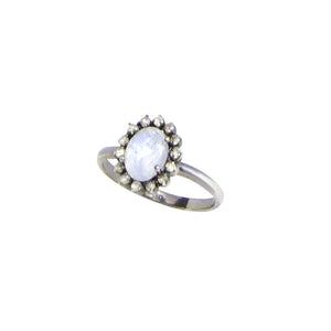 Small Diamond Moonstone Ring