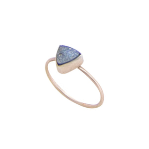 Blue Druzy Triangle Ring
