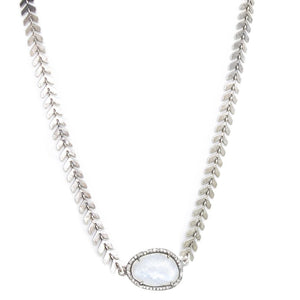 Silver Moonstone Diamond Choker