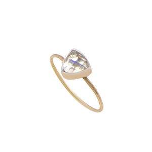 White Moonstone Gold Triangle Ring