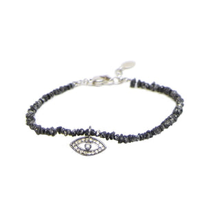 Crushed Black Diamond Evil Eye Bracelet