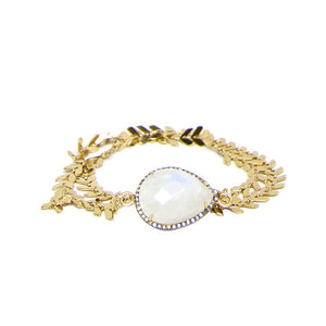 Gold Moonstone Diamond Choker and Wrap Bracelet