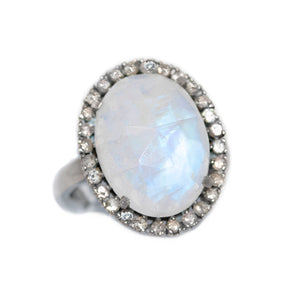 Medium Moonstone and Pave Diamond Ring