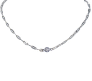 Simple Silver Mini Diamond Disc Choker
