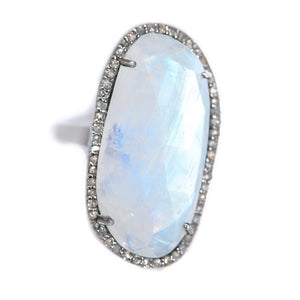 Large Moonstone and Pave Diamond Ring