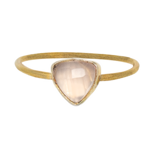 Rose Quartz Gold Triangle Ring