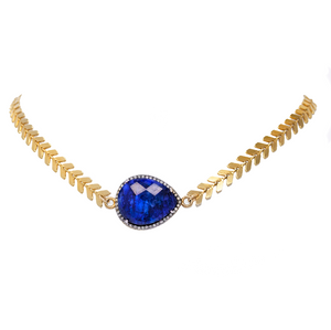 Gold Diamond and Blue Sapphire Wrap Bracelet and Choker