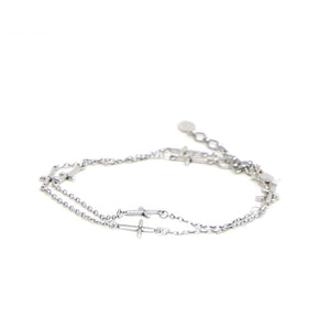 Sterling Silver Cross Choker and Wrap Bracelet