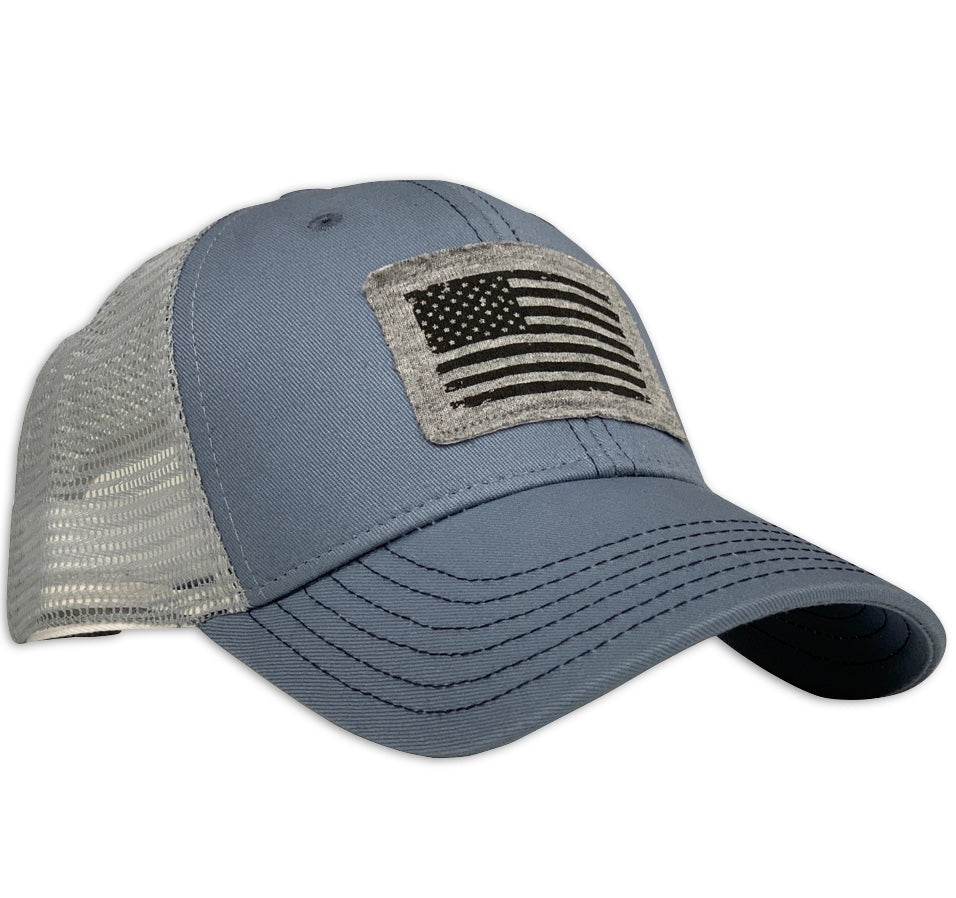 American Flag Patch Patriotic Made In USA Sky Blue Trucker Hat