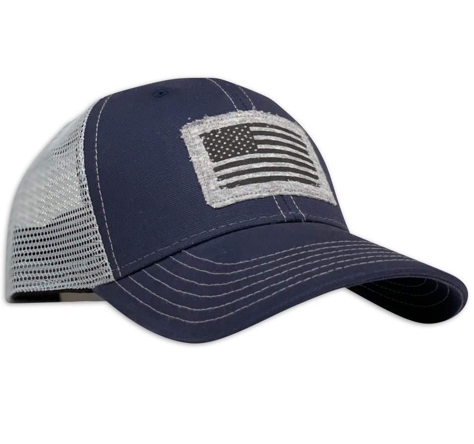 American Flag Patch Patriotic Made In USA Navy Trucker Hat