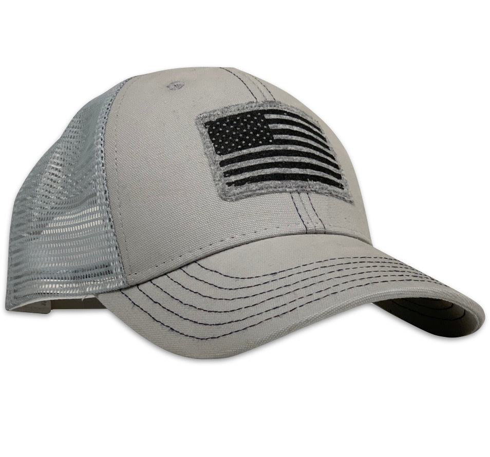 American Flag Patch Patriotic Made In USA Cloud GrayTrucker Hat