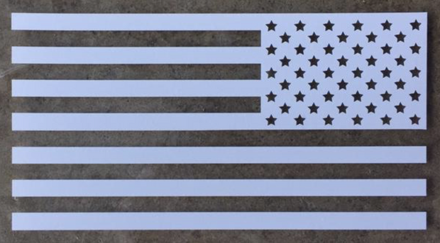 Old Glory American Flag Decal Assaulting Forward (White Multiple Sizes)
