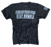 Men's Conquer And Stay Humble Tri-Blend T-Shirt (Heather Black)