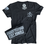 Women's Conquer And Stay Humble Tri-Blend T-Shirt (Heather Black)