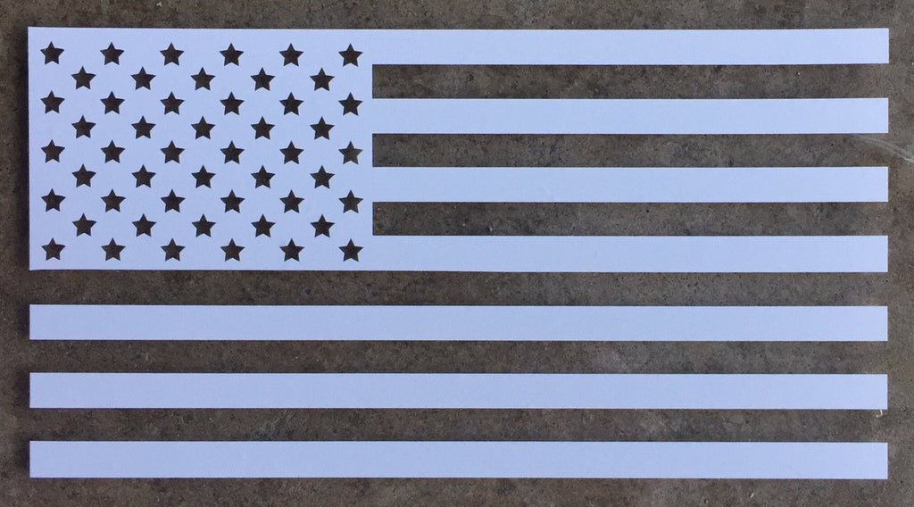 Old Glory American Flag Vinyl Window Decal (White)
