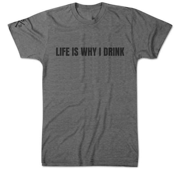 Men's Life Is Why I Drink T-Shirt (Gray)