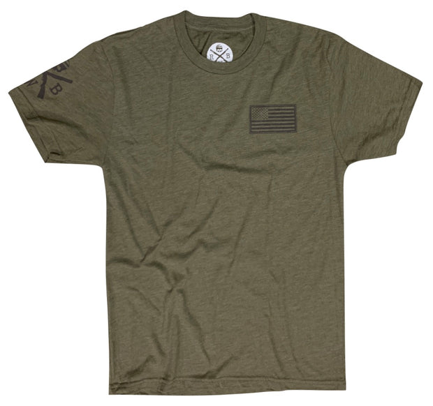 Men's American Flag Basic T-Shirt Army