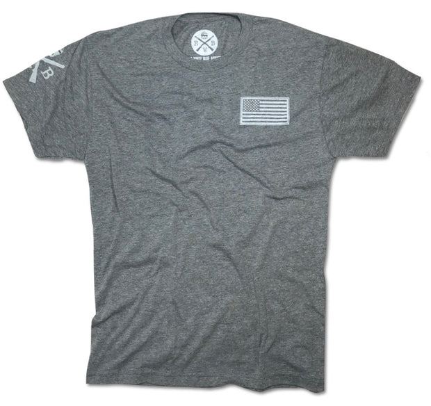 Men's American Flag Basic T-Shirt Gray