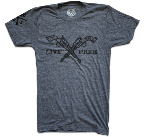 Men's Live Free Crossed Pistols (Heather Gray)
