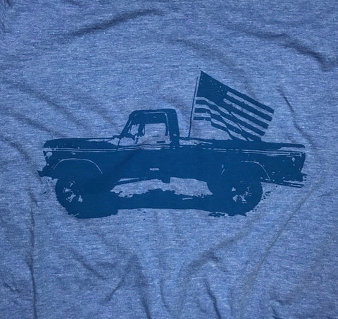 Men's Classic American Truck Tri-Blend T-Shirt (Heather Blue)