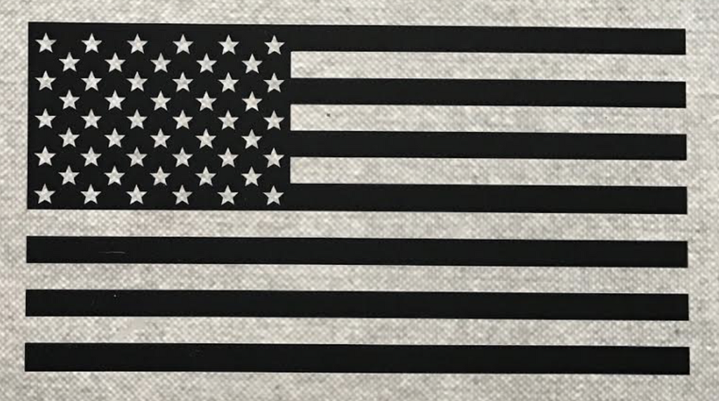 Old Glory American Flag Vinyl Window Decal (Black Multiple Sizes)