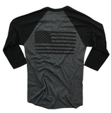 Men's Old Glory Baseball Raglan T Shirt (Heather Black / Black)