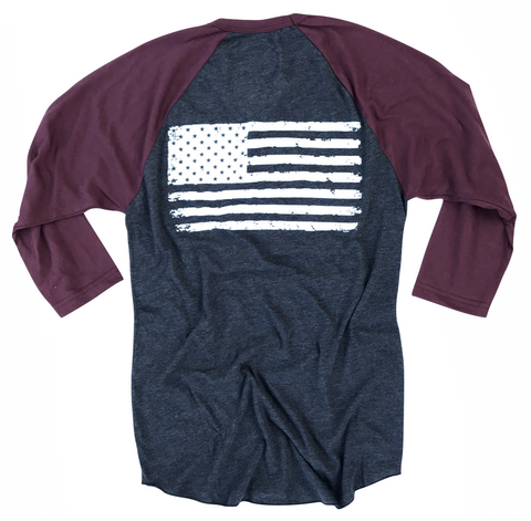 Men's Old Glory Baseball Raglan T Shirt (Heather Black / Truffle)