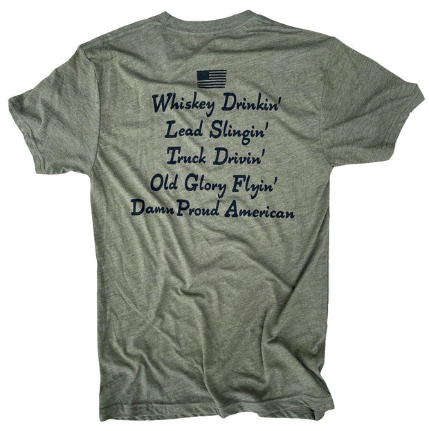 Men's Damn Proud To Be American T-Shirt (Army Green)